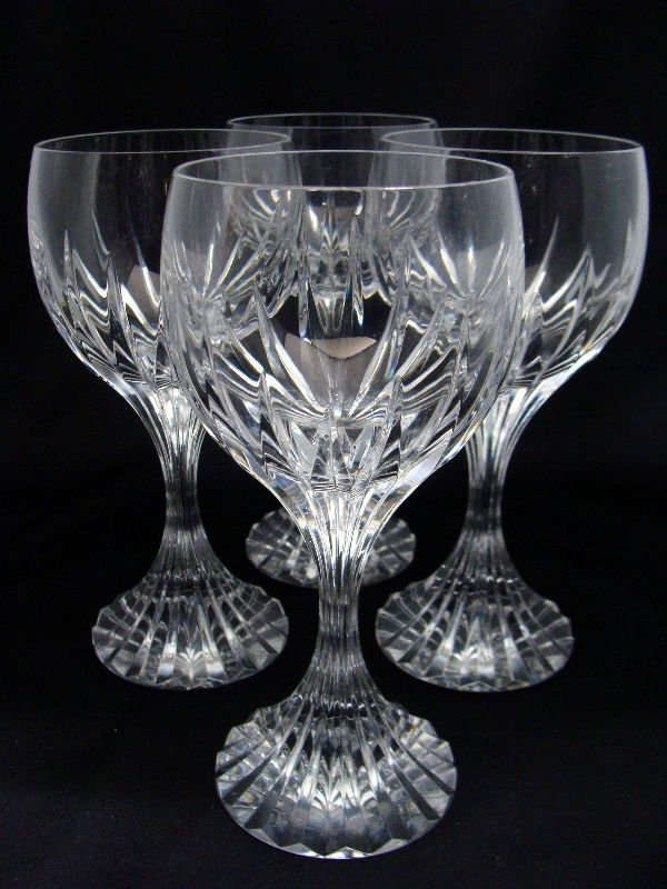 804: 4 Baccarat Crystal Messena Red Wine