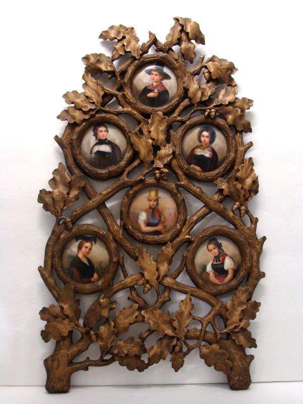 807:German Black Forrest  Porcelain Plaques Family Tree