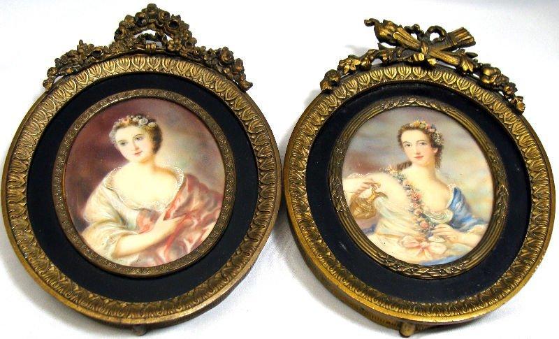809: Pair Of Miniature Paintings On Ivory