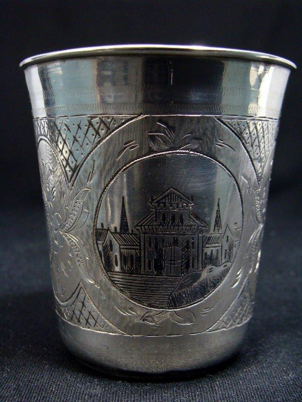 810: Russian Silver 1876 Niello Vodka Cup