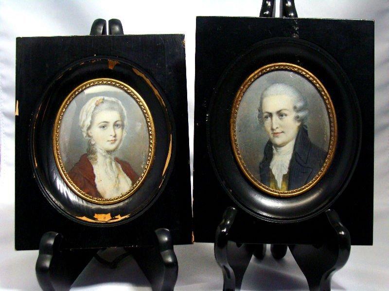 812: Pair Of Miniature Portrait Paintings On Ivory