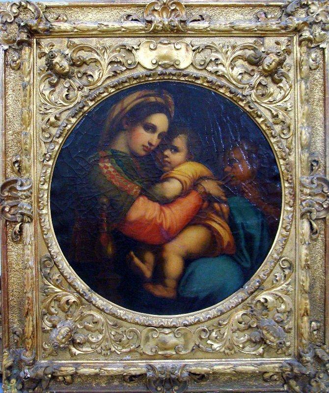 814:19th c. Italian Old Master Painting Madonna & Child