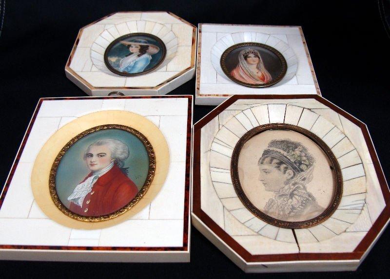 816: 4 Miniature Paintings On Ivory