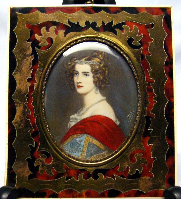 817: Miniature Boulle Inlay Painting On Ivory