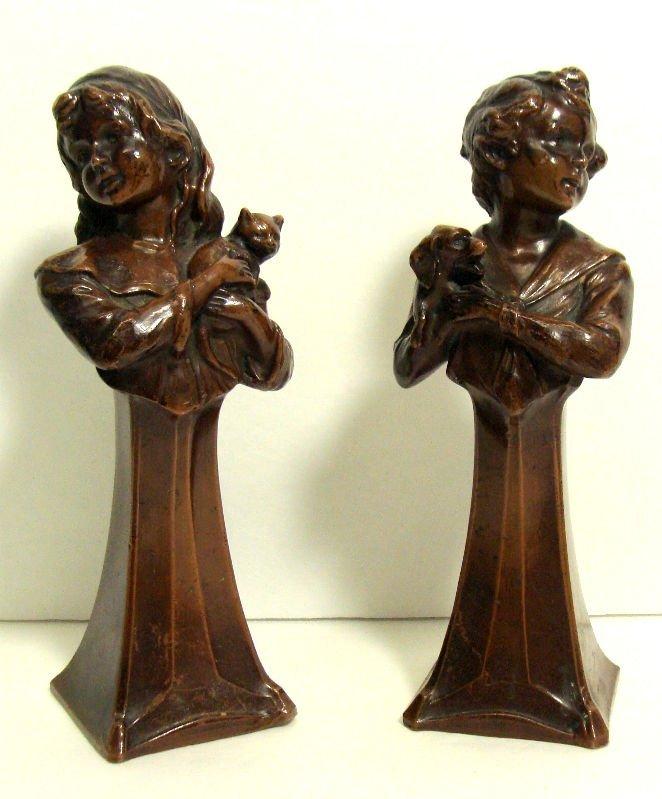 820: Pair of Antique Bronze Figure