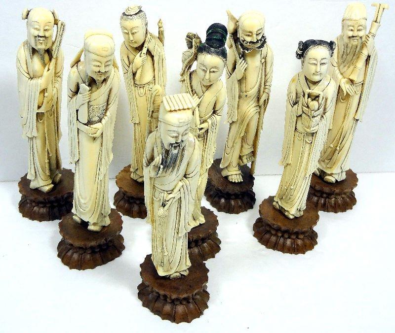907: Set of Eight 19th Century Ivory Immortals