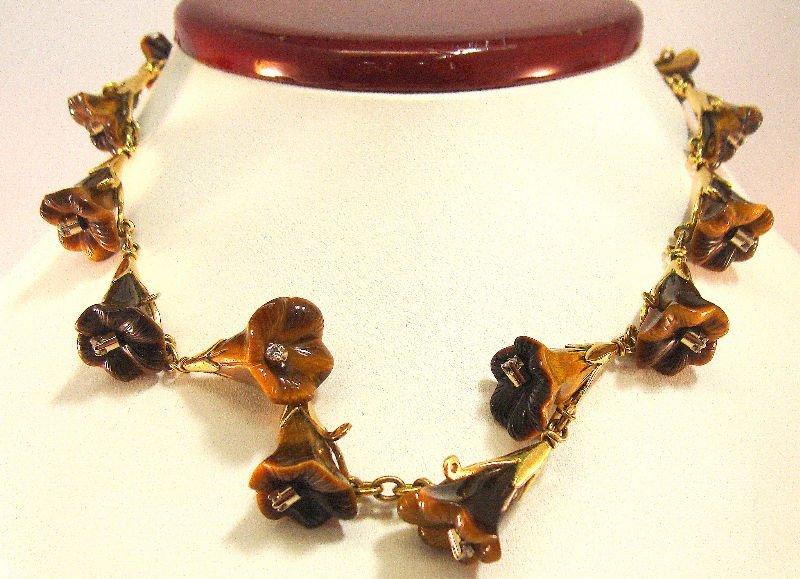 806A: 18Kt YG Tiger Eye & Diamond Necklace
