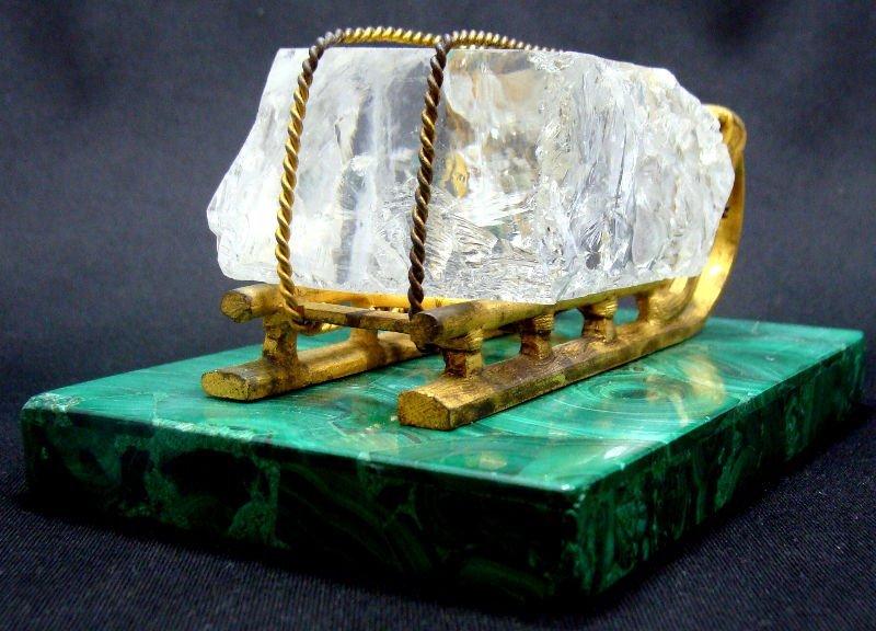 6: Antique Russian Malachite Ice Sleigh