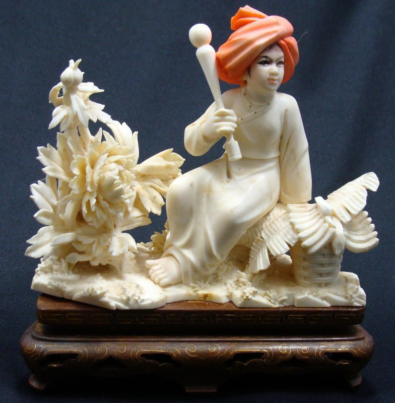 12: Chinese Polychrome Ivory Figural Group