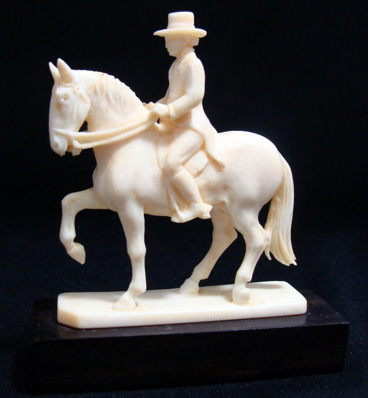 18: Continental Carved Ivory Figure On Horse