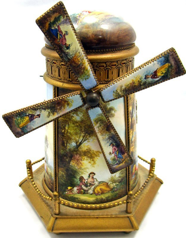106: French Enamel Windmill Music Box