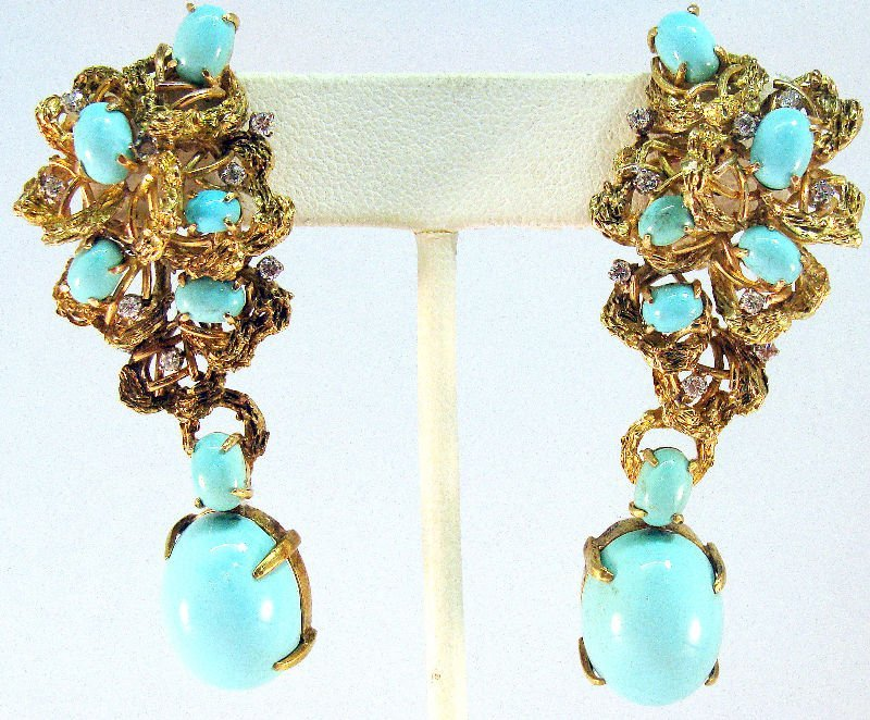 10A: 14Kt YG & Turquoise Earrings