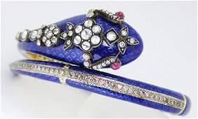 18k YG Enamel Diamond and Ruby Snake Bracelet