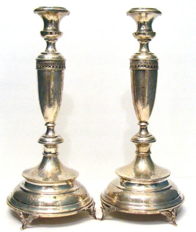 801: Pair Etched Austrian Silver Figural Candlesticks
