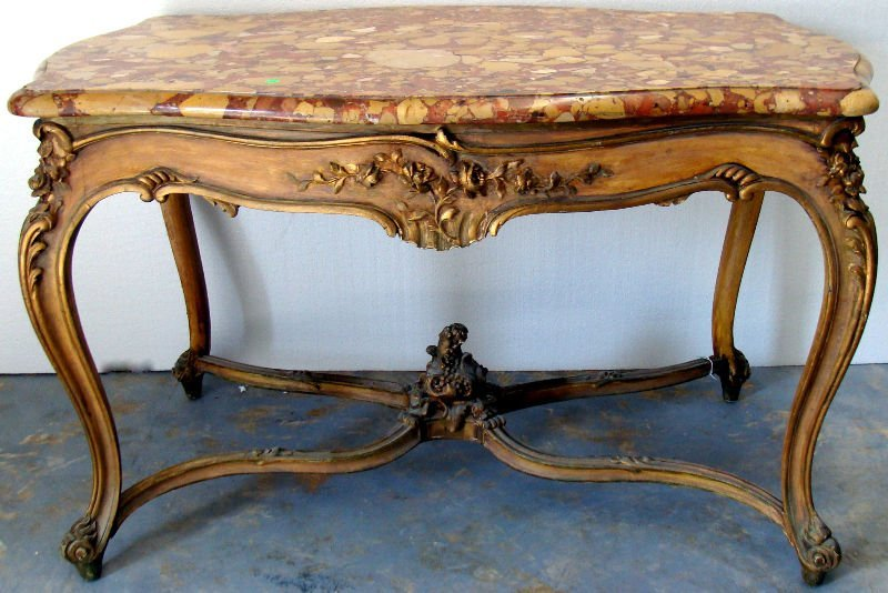 802: Antique Louis XV Style Marble Top Table