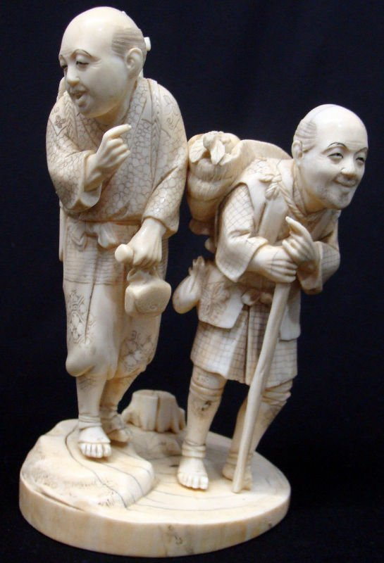 804: Antique Japanese Ivory Figural 2 Figure Group