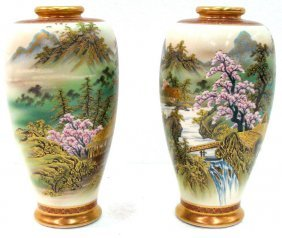 Pair Satsuma Hand Painted Porcelain Vases