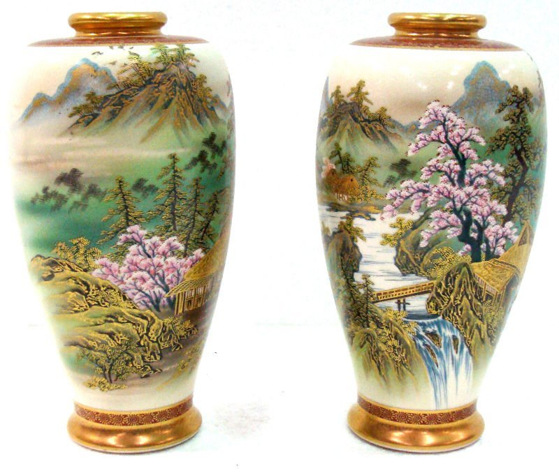 604: Pair Satsuma Hand Painted Porcelain Vases