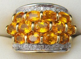 18kt WG Citrine & Diamond Ring