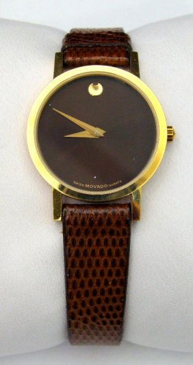 610A: Movado Brown Leather Ladies Watch
