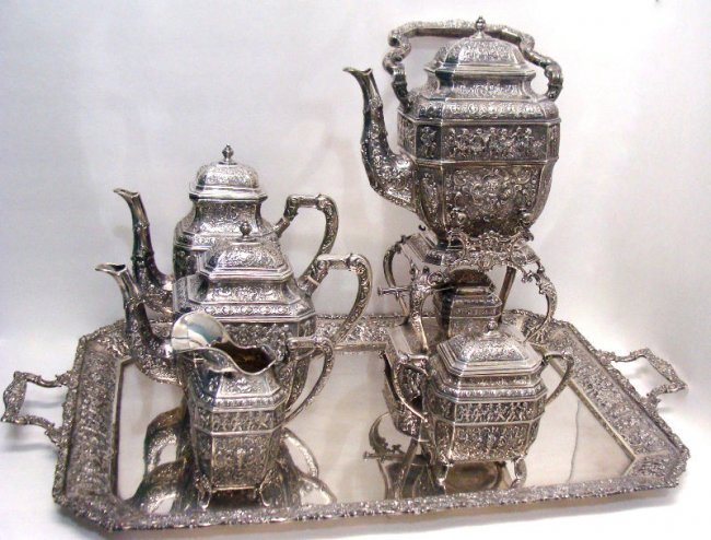 692: 7pc Sterling Silver Figural Teaset