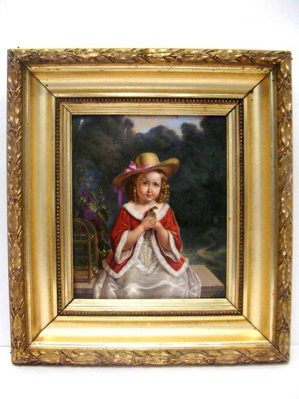 1: European Porcelain Plaque Of A Child