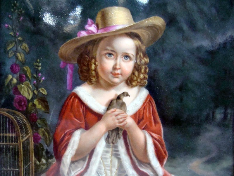 1: European Porcelain Plaque Of A Child - 3