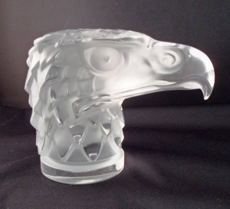 2: Lalique Crystal Eagles Head Paperweight