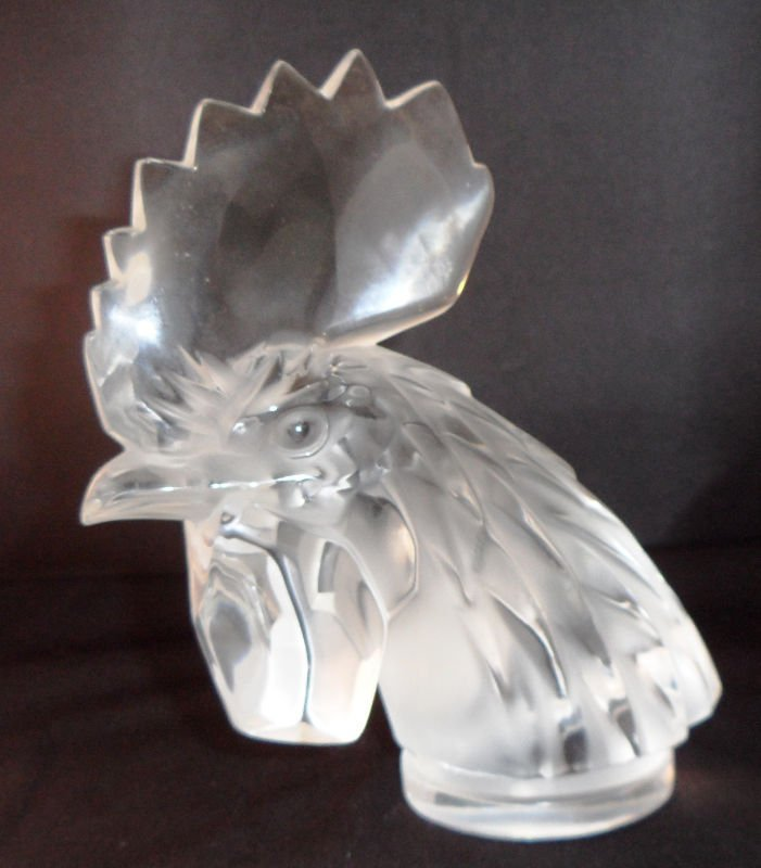 11: Lalique Crystal Rooster Head - 2