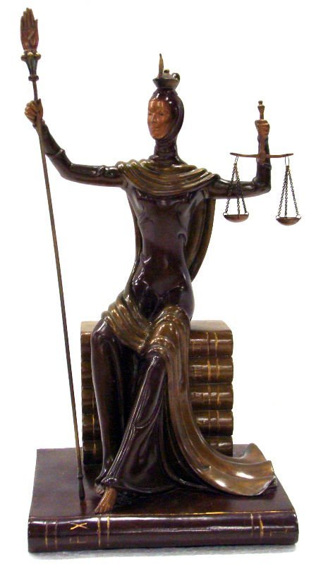 "12: Erte Bronze ""Justice"" Sculpture"