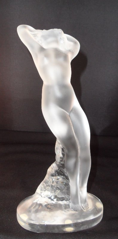 """13: Lalique Crystal Figure """"Arms Up"""""""