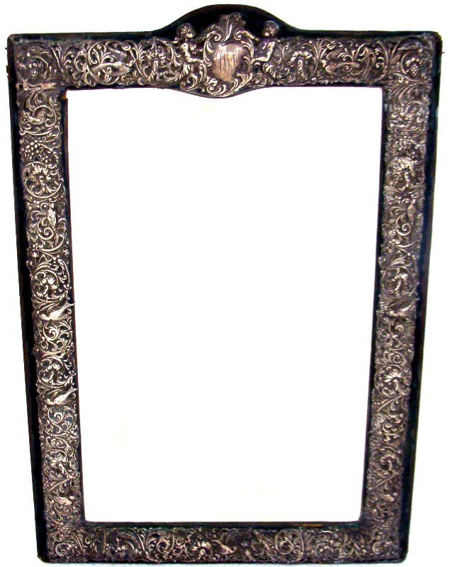 14: Antique Sterling Figural Glass Vanity Mirror