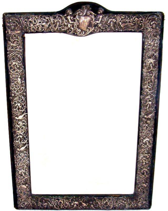 14: Antique Sterling Figural Glass Vanity Mirror