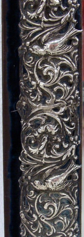 14: Antique Sterling Figural Glass Vanity Mirror - 4
