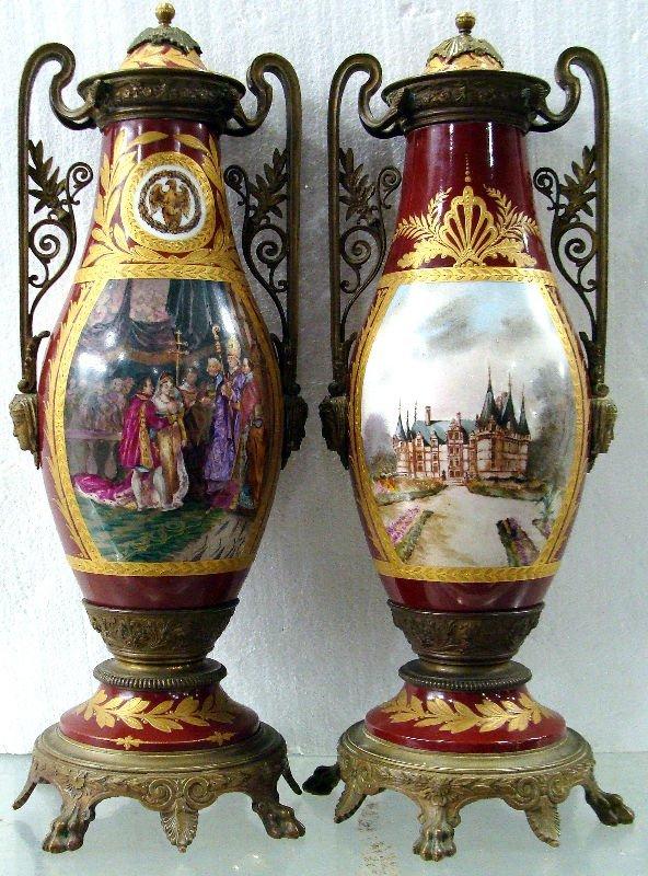 16: Pair of 19th Century Napoleon Bronze Urns