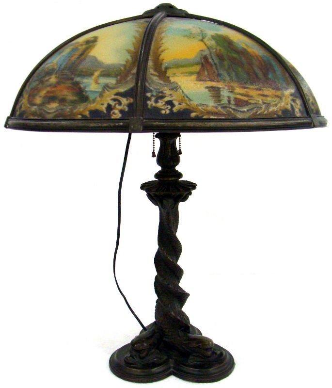 20: Bradley & Hubbard Reverse Hand Painted Table Lamp