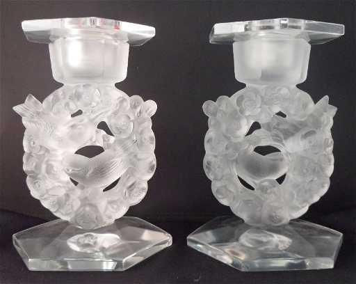 21 lalique crystal mesanges bird candle holders pr for Kitchen cabinets lowes with swarovski crystal candle holders