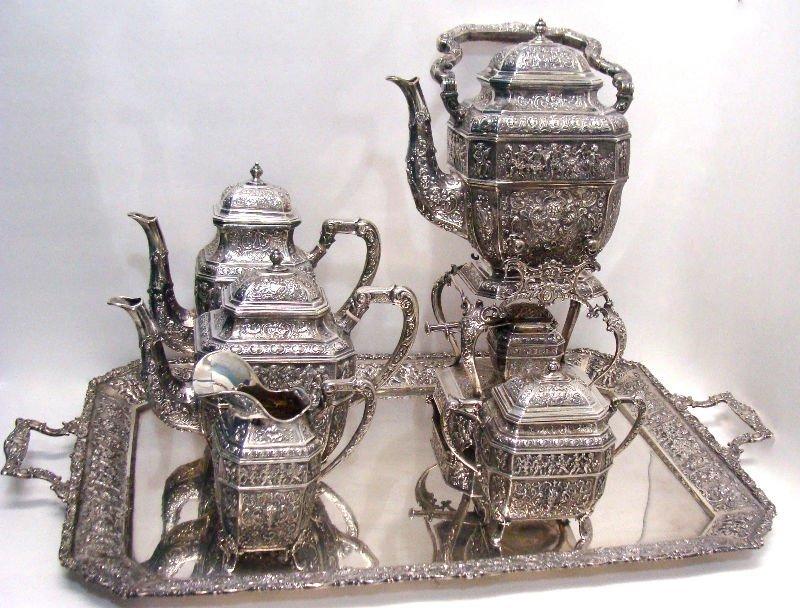 43: 6pc Sterling Silver Figural Teaset