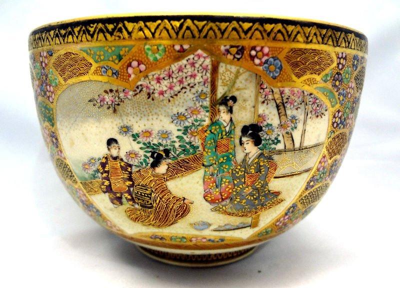 Antique Satsuma Round Footed Bowl