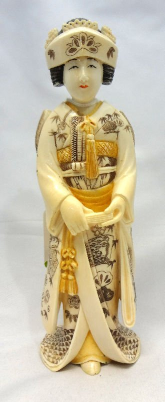 Antique Chinese Polychrome Ivory Figure