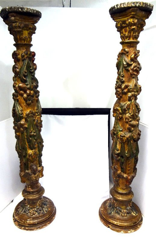 Pair Antique Italian Ornately Carved Candlesticks