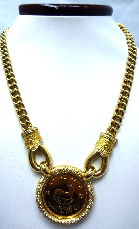 18 Kt. Y.G. Krugerrand & 2.5 ct Diamond Necklace
