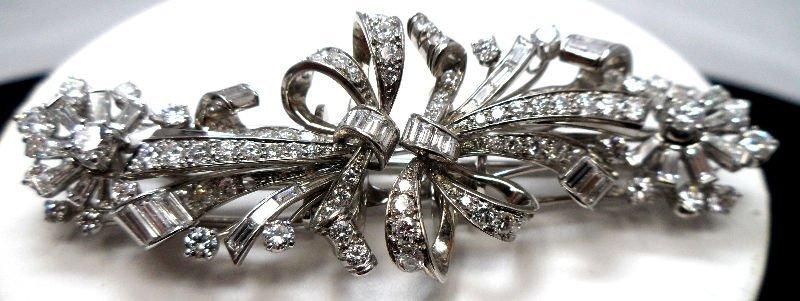 Very Fine 1950's Platinum Diamond Double Clip Brooch 8.