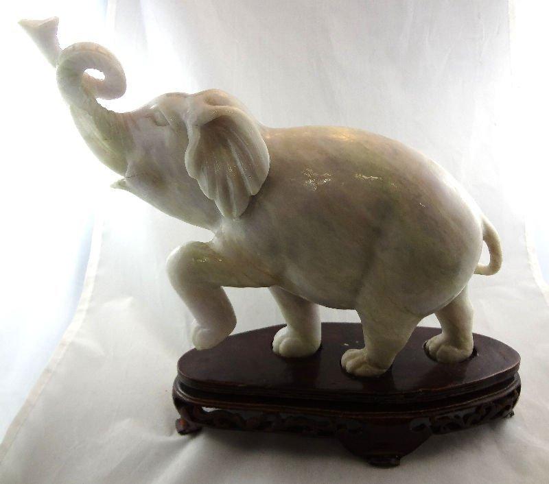 Chinese Jade Elephant Tusk Up