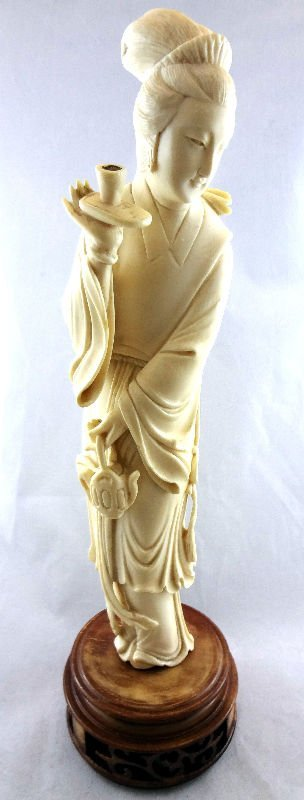 Chinese Carved Ivory Figure with Teacup
