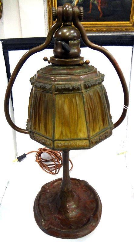 Antique Tiffany & Studios Linen Fold Lamp