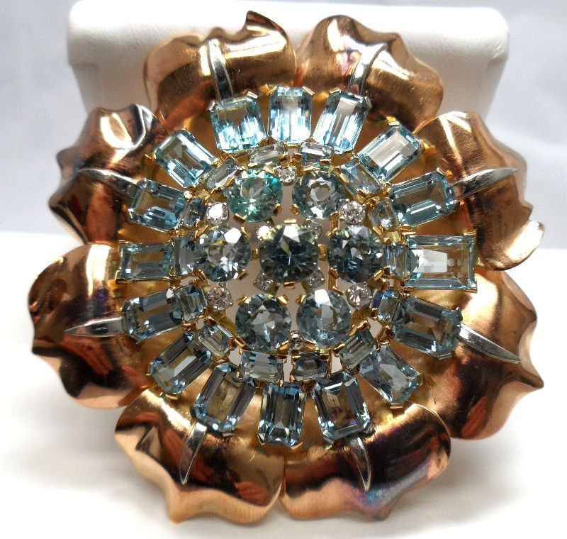 Exquisite Retro Diamond Aquamarine Brooch ByBoucheron
