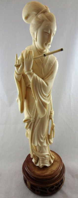 Chinese Carved Ivory Figure Playing Flute