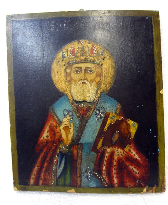 Antique Russian Icon on Wood