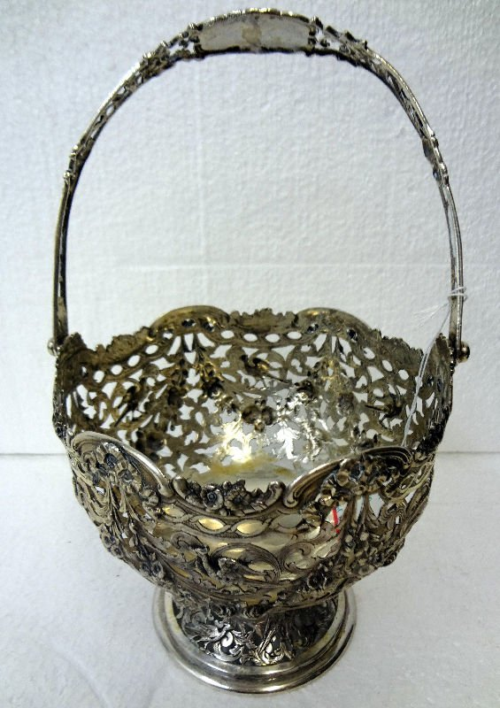 800 Silver Ornate Reticulated Footed Basket